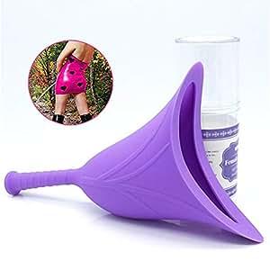 Female Urination Device Women Pee Funnel-Portable Silicone Female Urinal Trav JE