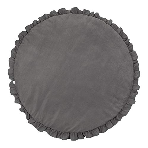 (Ibnotuiy Pure Color Round Crawling Mat Nursery Rug Baby Floor Playmat Game Blanket with Ruffle for Kids' Room Decoration (Dark Grey))