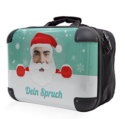 HAUPTSTADTKOFFER - STYLE Laptoptasche Businesstasche Notebooktasche, individuell gestalten, Geschenkidee, Design: Leopard Santa-Dein Bild Grün