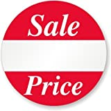 Sale Price, 1'' Diameter, Printed Red Ink, White Semigloss, Removal Label, 500 Labels / Roll