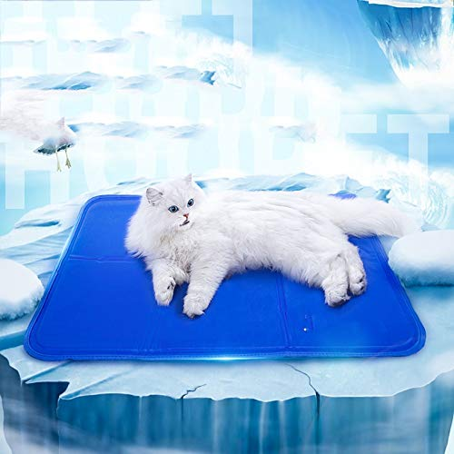 bluee L bluee L Young17 Pet Cool Pad Cat Cooling Sleeping Pad Cat Cage Cool Pad Summer Multifunctional Cat Pad (color   bluee, Size   L)