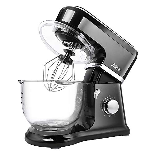 Betitay Electric Stand Mixer,Baking Mixer with Visual Glass Bowl 4.5 QT Large Capacity,6 Speed Bread Mixers with Splash Guard, Mixing Beater, Whisk, Dough Hook and Silicone Brush(Black/Glass)