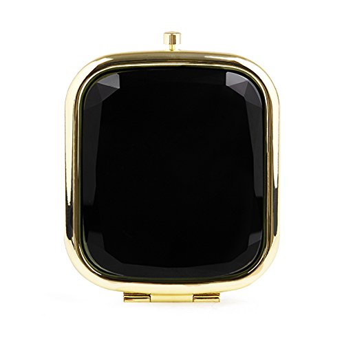 Chic Black and Gold Jeweled Compact Mirror by Liz Cloth