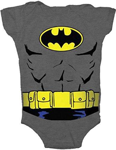 Batman Uniform Costume Charcoal Gray Snapsuit Infant Onesie Baby Romper (24 Months)