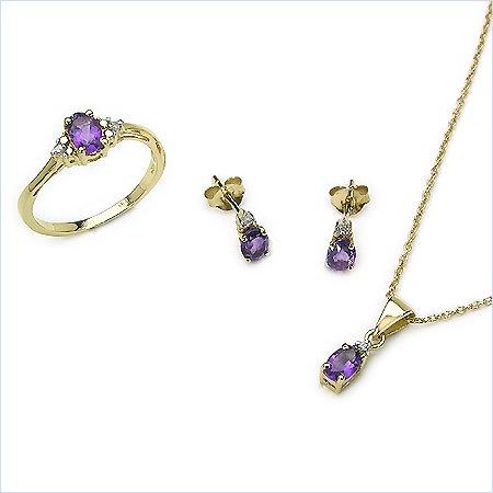 Bijoux-Schmidt-SET 5 Diamond Piece / pendentif améthyste, collier, boucles d'oreilles, bague 1, 25 carat