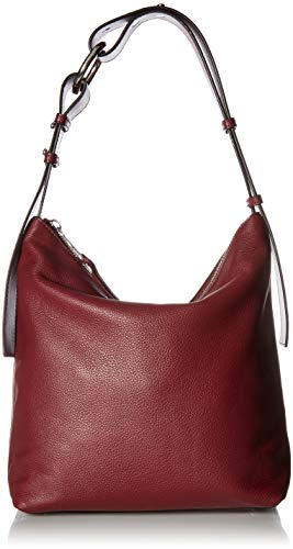 Calvin Klein Liana Pebble Leather Belted Top Zip Slouchy Hobo, Merlot (Belted Handbag Hobo)
