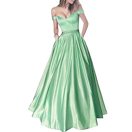 Long Beaded Dresses Mint Neck Corset V Prom Satin Off Gowns Shoulder Green Lemai Evening TwxF6g0Sz