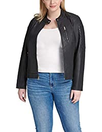 Size Women's Plus Faux Leather Fashion Quilted Racer Jacket