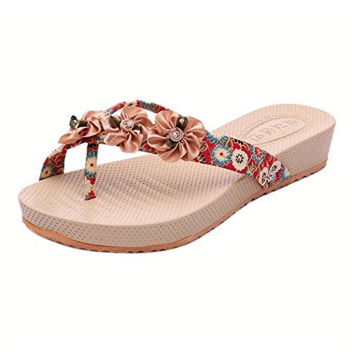 Women Slippers - Bohemia Leisure Flip Flops Sandals - Outdoor Beach Toepost Shoes