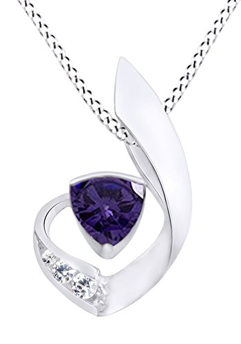 AFFY Simulated Alexandrite & White Cubic Zirconia Fashion Pendant Necklace in 14K White Gold Over Sterling - Necklace 10k Trillion
