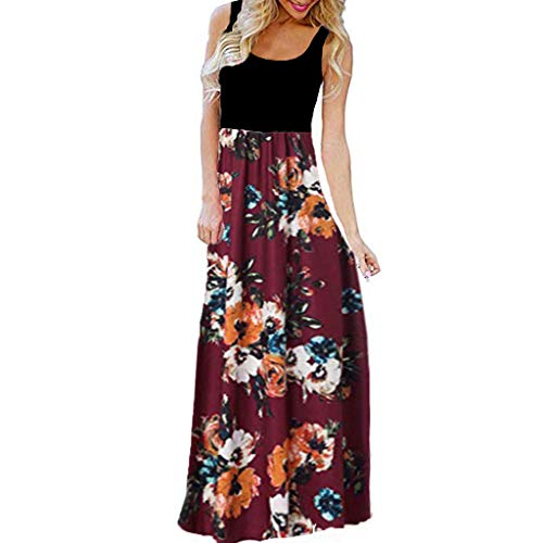 TUSANG Women Skirt Casual Sleeveless O-Neck Print Maxi Tank Long Dress Slim Fit Waist Loose Flowy Hem Dress(A-Red,US-10/CN-XL)