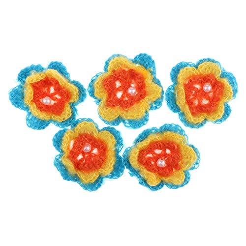 5Pcs Handmade Crochet Fruit Flower Appliques for Sewing Craft Trim 70mm | Color - Color 3