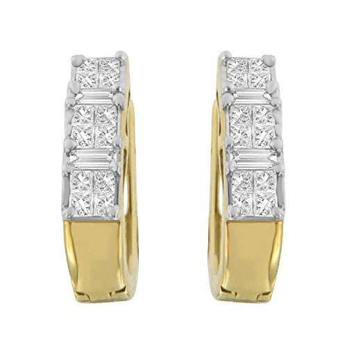 14K Yellow Gold Princess and Baguette-Cut Diamond Earrings (0.50 cttw, H-I Color, SI2-I1 Clarity) - Baguette Gold Hoop 14k Diamond