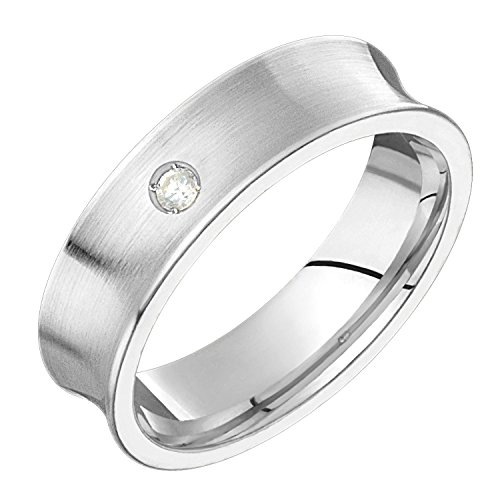 Alain Raphael 10k White Gold and Diamond Ring Comfort Fit 6mm Wide Wedding Band