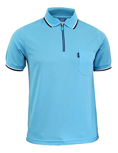 BCPOLO Zip Polo Shirt Short Sleeve Dri Fit Zip Up Polo Shirt Various-Sky Blue L