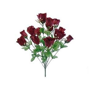 "Phoenix Silk Rose Buds Bush 14 Artificial Flowers 19"" Bouquet 265 2"