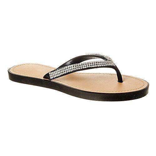 Womens Ladies Slip On Jelly Diamante Toe Post Flip Flop Summer Shoes Black gxTD4MJ