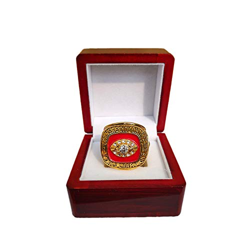 Gloral HIF Kansas City Chiefs Championship Ring Super Bowl 1969 Ring Replica Len Dawson with Display Wooden Box