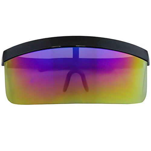 9e029c3f97 Elite Futuristic Oversize Shield Visor Sunglasses Flat Top Mirrored Mono  Lens 172mm (Blue Purple