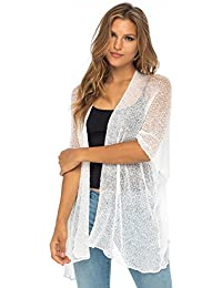 Womens Long Cardigan Open Front Shrug, Lightweight Sweaters for Dresses and Pants