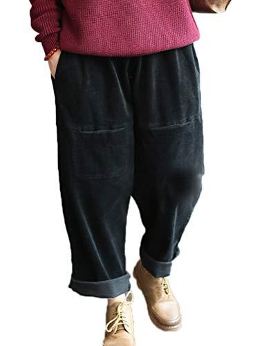 Style En Décontracté Vogstyle Avec Femme Côtelée Poches Velours 4 Pantalon noir Chic O6zwqfxz4E