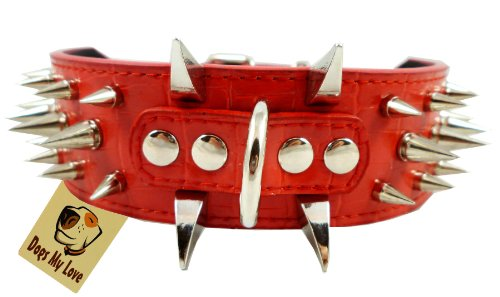 17″-20.5″ Red Faux Croc Leather Spiked Dog Collar 2″ Wide, 40 Large Spikes, My Pet Supplies