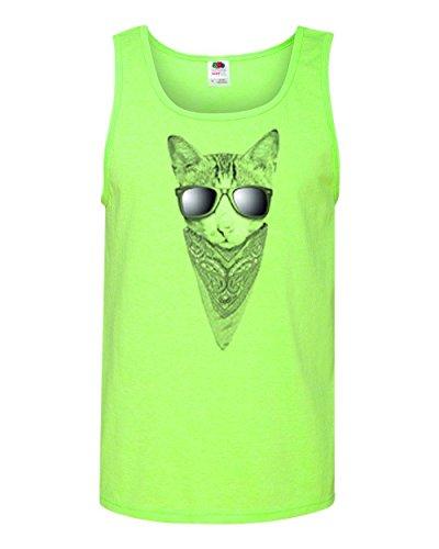 Cat Sunglasses Bandana Animal Lover Mens Tank Top Neon Green - Sunglasses Neon Custom