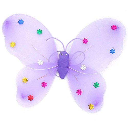 Halloween Led Flashing Fairy Butterfly Costume, Malltop Girls Wing Magic Wand Headband Party Pretend Dress Up Toy Gift Set (Purple)