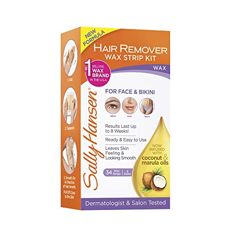 Sally Hansen Quick and Easy Hair Remover Kit Large Wax Strips For Under Arms Legs and Body Easy At-Home Waxing body Hair Removal Kit No Strips or Warmer Required