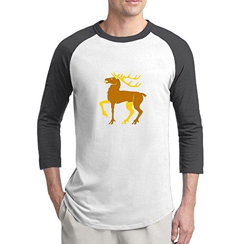 Pingquchan Christmas Elk Mens 3/4 Raglan Sleeve Athletic Shirts Casual Tees For Men Baseball T-Shirt L Black