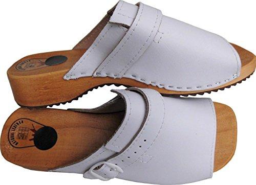 Lusy011 Holz (e) Clogs - Pantolette Gr.36 37 38 39 40 41 Weiszlig; Echt Leder (Made in Poland 476)