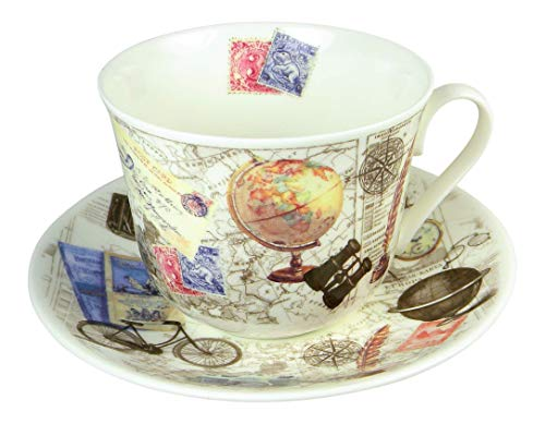 Roy Kirkham Vintage Past Times Breakfast Tea Cup and Saucer Set Fine Bone China - Set Breakfast Cup