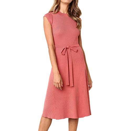 Cenglings Women Casual O Neck Short Sleeve Lace Up Slim Fit Mini Dress Evening Party Flare A-line Dress with Belt Pink