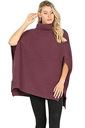 Women's Turtleneck Thick Warm Knitted Winter Shawl Cape Poncho Wrap Sweater-Eggplant (Small)
