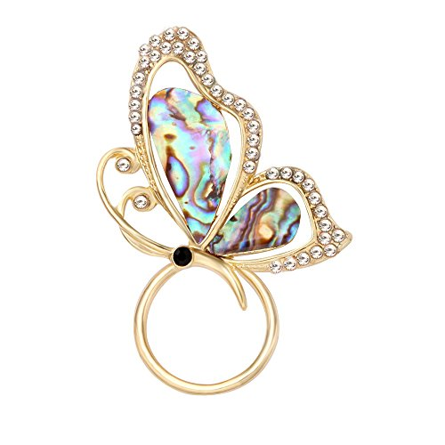 SENFAI Abalone Paua Shell Butterfly Magnet Crystal Brooch Perfect Gift Eyeglass Holder - Butterfly Shell Paua