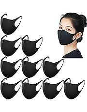 10 Pcs Black Face Mask, Reusable Washable Cotton Fabric, Fashion Unisex Coverings Protective