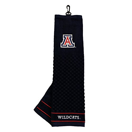 Wildcats Embroidered Tri Fold - Team Golf NCAA Arizona Wildcats Embroidered Golf Towel, Checkered Scrubber Design, Embroidered Logo