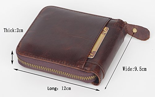 Leather Admetus Brown4 Bifold Genuine around Men's Wallet Gift Zip with Elegant xw7OwBqEF
