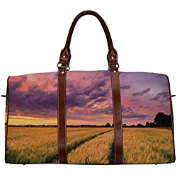 """Farm House Decor Waterproof Travel Bag,Flowing Crop at Sunset Morning in Nature Countryside Style Cloudscape Scene Print for Travel,18.62""""L x 8.5""""W x 9.65""""H"""