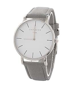 Relojes Mujer Reloj de Cuarzo Relojes Hermosas Correa de PU Cuero Artificial Relojes de la Mujer Hombre niña,Gris-Plata
