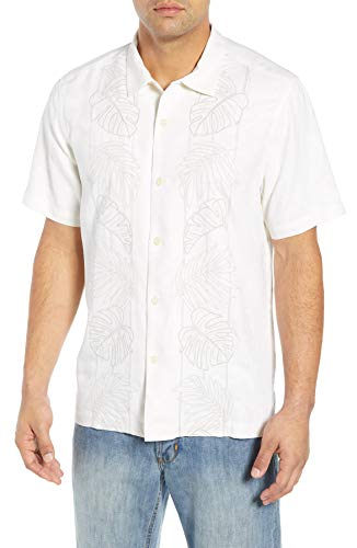(Tommy Bahama Front Embroidered Oceangrove Vines Silk Camp Shirt (Color: Continental, Size 3XL))