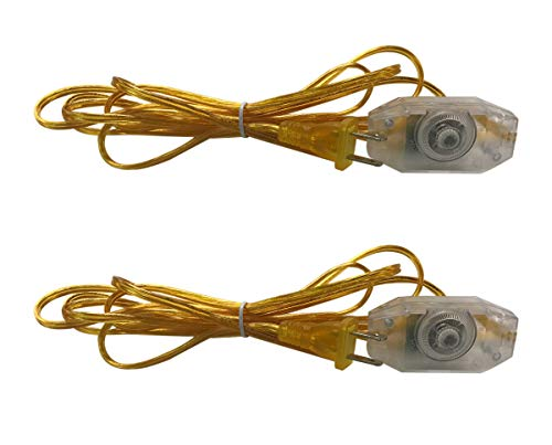 Royal Designs CO-1001D-GL-8-2 Inline Rotary Dimmer Switch 8ft Replacement SPT-1 Lamp Cord with Molded Plug, Clear Gold, Pair
