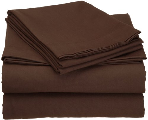 Clara Clark Premier 1800 Collection Attached Waterbed Sheet Set, with Pole Insert Pockets, Queen Size, Chocolate Brown -