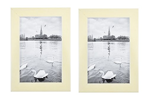 Golden State Art Set of 2, 4x6 Simple Wood Picture Frame - Table/Desk Top - Easel Stand - Back Hanger - Wall Display - Cream Color - Real Glass 4x6 (2-Pack), Cream -