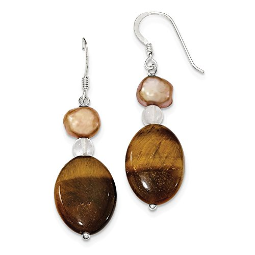 Mia Diamonds 925 Sterling Silver Rock Quartz/Tiger's Eye/Brown Fw Cultured Pearl Earrings (48mm x (Dangling Tigers Eye Necklace)