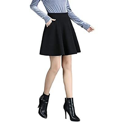 Women's Basic Solid Stretchy A-line Mini Skirt Flared Skater with Pockets