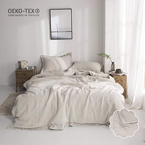 Simple&Opulence 3 Piece Solid 100% Linen Duvet Cover Set (King, Linen)