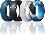 ThunderFit Men's Silicone Ring, Step Edge Rubber Wedding Band, 10mm Wide, 2.5mm T