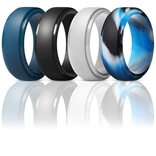 ThunderFit Silicone Rings for Men - 4 Pack Rubber Wedding Bands (Dark Blue, Black, Blue Camo, Silver, 11.5-12 - Ring Wear Set Wedding