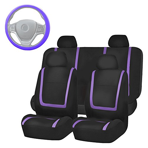 (FH Group FH-FB032114 Unique Flat Cloth Full Set Car Seat Covers, Purple/Black with FH2033 Steering Wheel Cover and Seat Belt Pads- Fit Most Car, Truck, Suv, or Van)